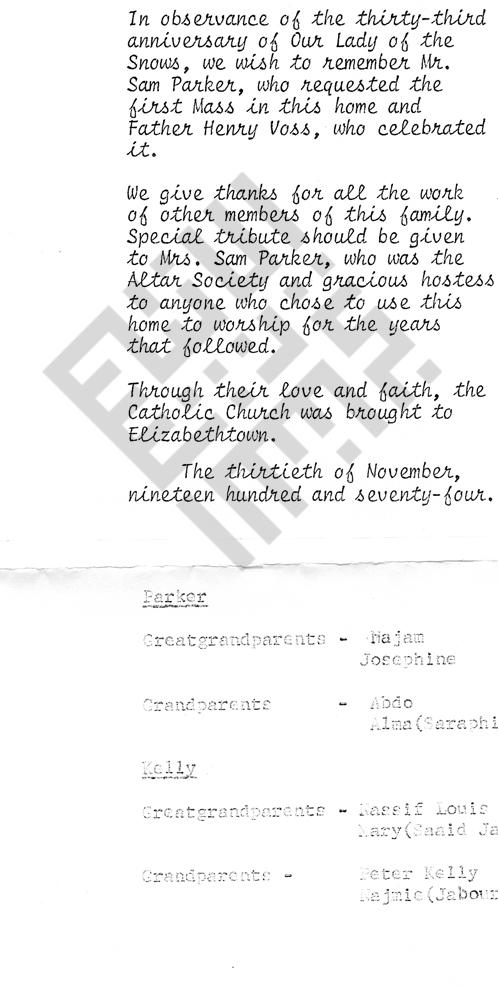 1974_Findlen mass observence for Parkers with some genealogy.jpg