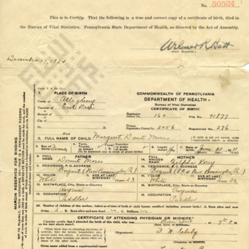 Birth Certificate for Margaret (Peggy) Domit, aunt to Moussa Domit_wm.jpg