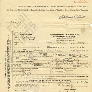 Birth Certificate for Margaret (Peggy) Domit, aunt to Moussa Domit_wm.jpg