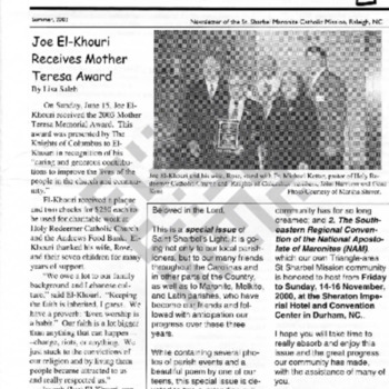 El-Khouri_St Sharbels Light_article on Joe's Mother Theresa Award_Summer 2003_ocr wm.pdf