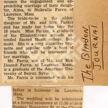 Findlen_Bladen journal_1941_Alma Parker to Wed.jpg