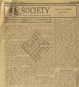 Findlen_1941_dec 4_bladen journal_wedding of alma parker and shikralla farris_1941_wm.jpg