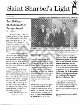 El-Khouri_St Sharbels Light_article on Joe's Mother Theresa Award_Summer 2003_ocr wm.pdf