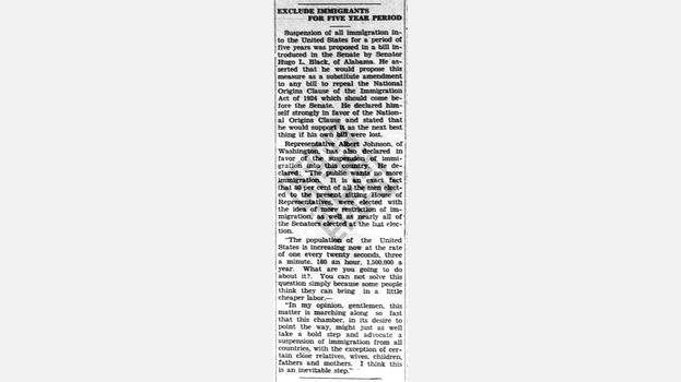 "1929-05-17 ""Exclude Immigrants For Five Year Period"" in The Lake City Reporter"