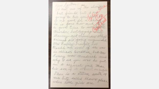 1929 Anonymous Letter From Lake City, Florida to Governor Carlton Regarding The Romey Case