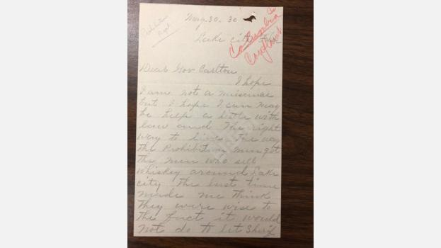 1930-05-30 Letter from Anonymous Person to Florida Governor Carlton Regarding Bootlegging