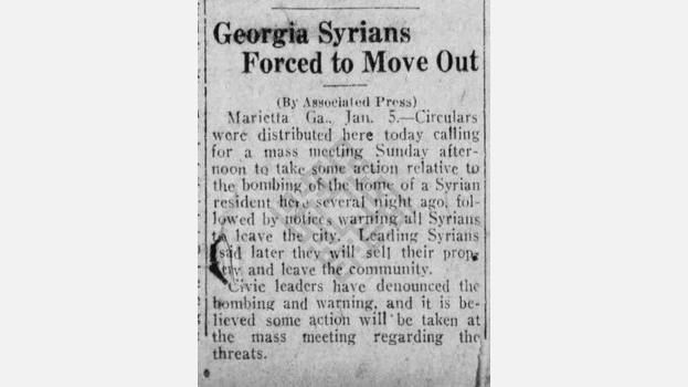 "1923-01-06 ""Georgia Syrians Forced to Move Out"" in The Palm Beach Post"