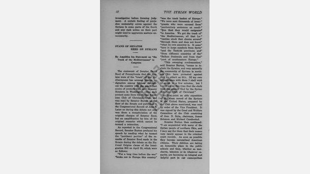"1929-06 ""Stand of Senator Reed on Syrians"" in The Syrian World"